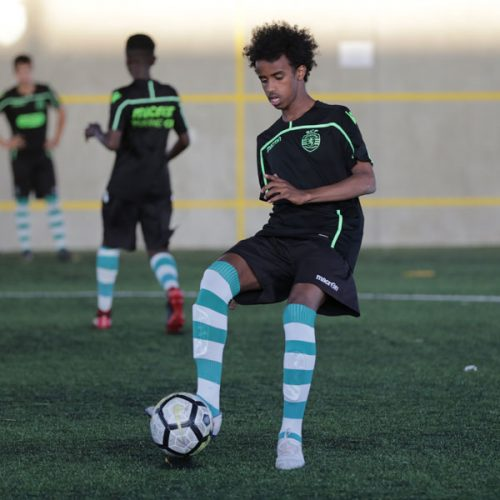 Bashir Bashiir training with Sporting CP in Lisbon last year. Bashir is one of the NF Scholarship players.
