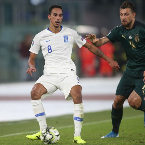 Zeca representing the Greek National team during the UEFA Euro 2020 qualifier match between Italy and Greece in 2019.